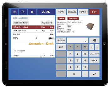 Trek Global's Web POS system on a tablet