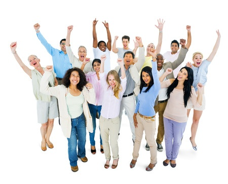 Group of people - business success using Cloud ERP