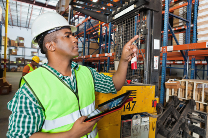 Cloud ERP used on tablet in warehouse